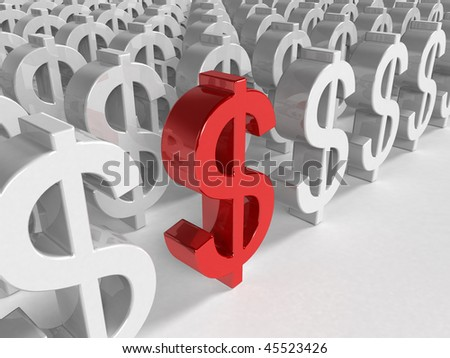 3d red dollar sign inside a lot white dollar sign - stock photo