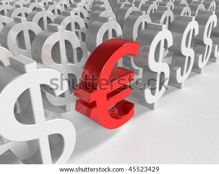 3d red euro sign inside a lot white dollar sign