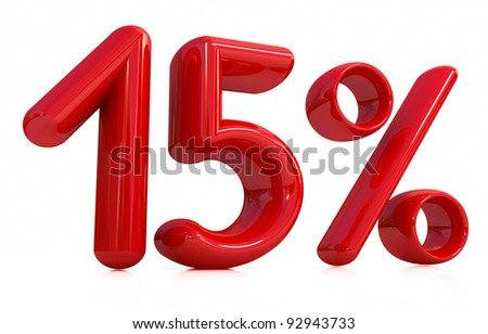 3d red fifteen percent on a white background