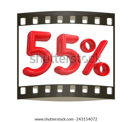 """3d red """"55"""" - fifty five percent on a white background. The film strip - stock photo"""