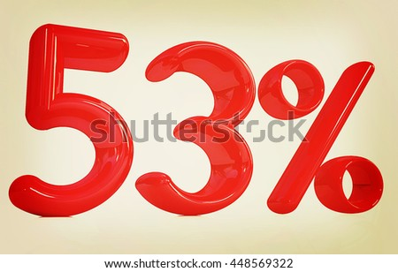 "3d red ""53"" - fifty three percent on a white background. 3D illustration. Vintage style."