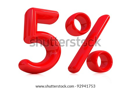 3d red five percent on a white background