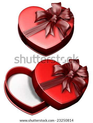 3d Red gift box in the manner of heart with Pink Ribbon