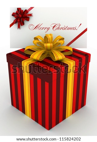 3D red Gift christmas box with christmas postal, envelope - stock photo