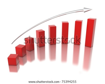 3d red graph - stock photo