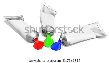 3d red, green, blue tubes of paint on white background 3D illustration