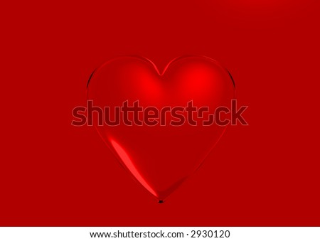 3d red heart - stock photo