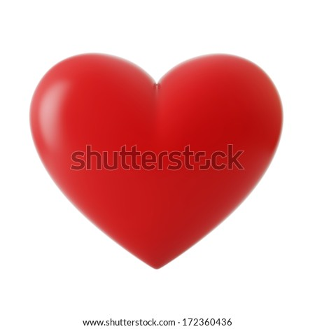 3d red heart, isolated on white background
