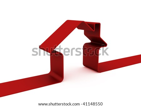 3d Red house sign isolated on white
