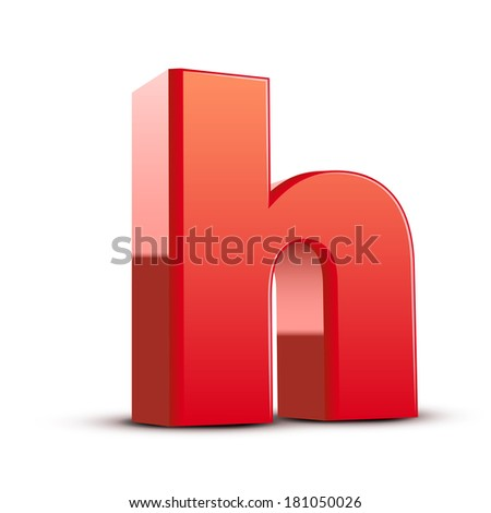 3d red letter h isolated white background - stock photo
