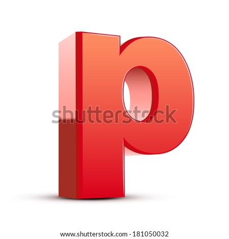 3d red letter p isolated white background - stock photo