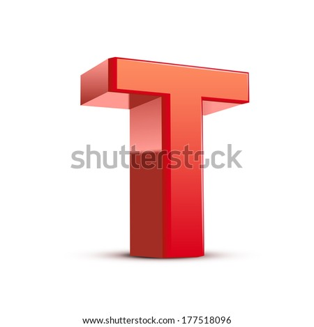 3d red letter T isolated white background