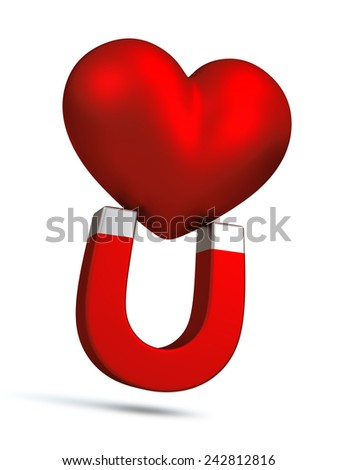 "3D Red magnet attract red hearts concept for love and "" Love You "" alphabet with double meaning, object isolated - stock photo"