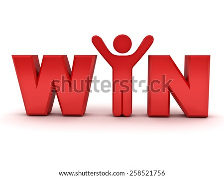 3d red man standing with win text concept isolated over white background - stock photo