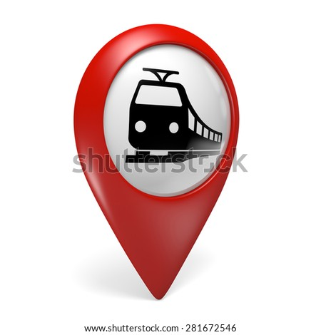 3D red map pointer icon with a train symbol for railway stations - stock photo