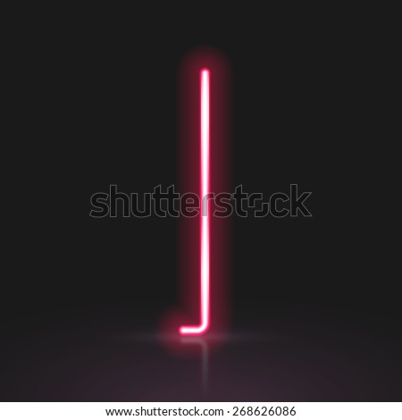 3d red neon light letter I isolated on black background - stock photo