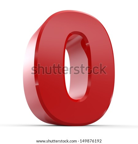 3D Red Number Collection 0 - stock photo