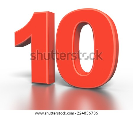 3d red number collection - 10 - stock photo