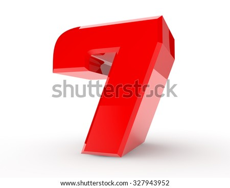 3d red number 7 on white background 3d rendering