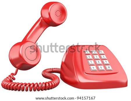 3D red old fashioned style telephone. Rendered at high resolution on a white background with diffuse shadows. - stock photo
