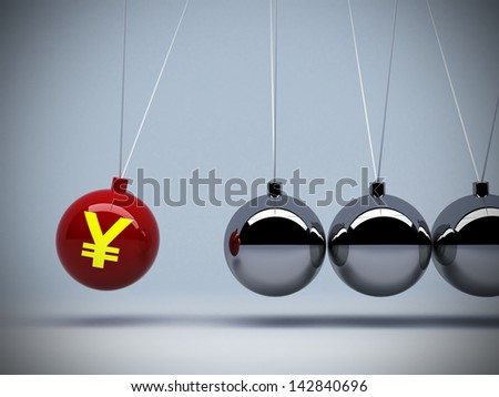 3d red pendulum with japanese yen sign of japan's value  money impact art abstract background concepts - stock photo