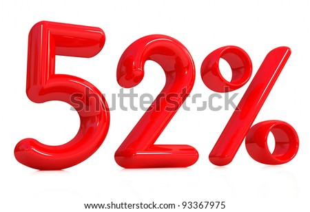 3d red 52 percent on a white background