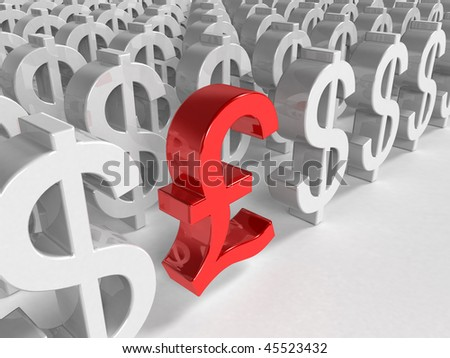 3d red pound sign inside a lot white euro sign