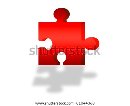 3d red puzzle with shadow over white background. illustration - stock photo