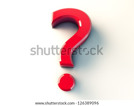 3d red question mark - stock photo