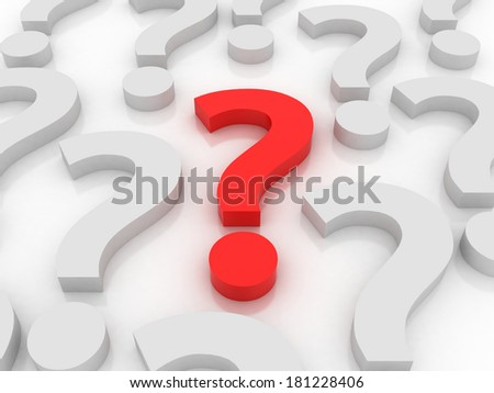 3d red question mark , isolated on white background