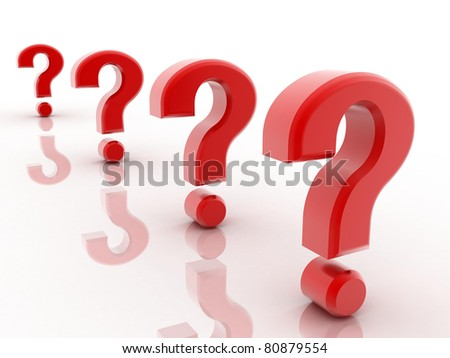3D Red question marks isolated on white - stock photo