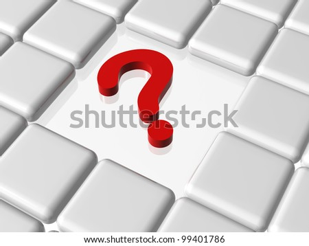 3d red question sign with white boxes - stock photo