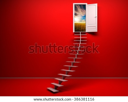 3d red room with opened door - stock photo