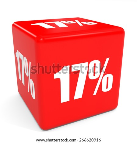 3D red sale cube. 17 percent discount. Illustation. - stock photo