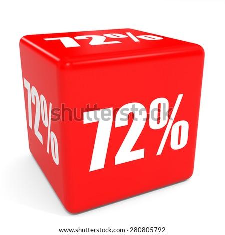 3D red sale cube. 72 percent discount. Illustation. - stock photo