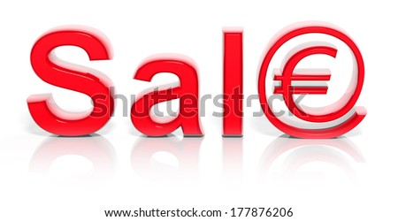 3D red sale text with web money symbol isolated