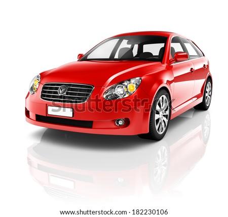 3D Red Sedan Car - stock photo