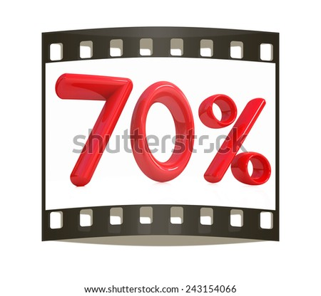 """3d red """"70"""" - Seventy percent on a white background. The film strip - stock photo"""