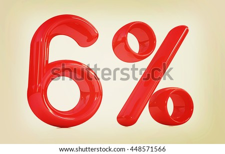 "3d red ""6"" - six percent on a white background. 3D illustration. Vintage style. - stock photo"
