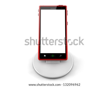 3d red smart phone