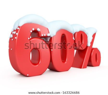 3d red snowy discount collection - 60% - stock photo