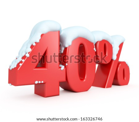 3d red snowy discount collection - 40% - stock photo