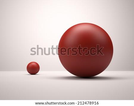3d red spheres. Big and small - stock photo