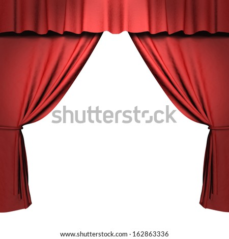 3d red stage curtain with spotlights - stock photo