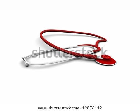 3d red stetoscope - stock photo