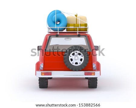 3d red SUV adventure with roof rack. Back view - stock photo