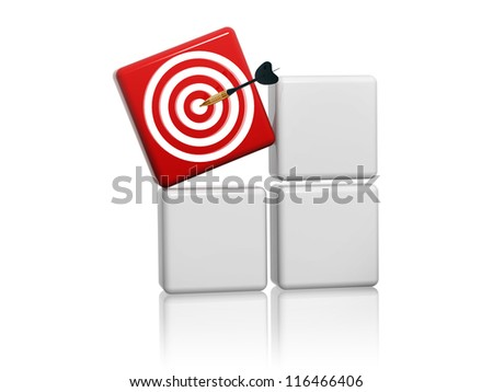 3d red target sign with arrow on grey boxes - stock photo