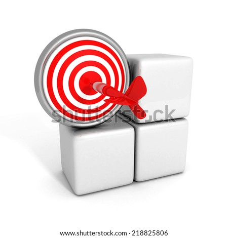 3d red target sign with dart arrow. success concept 3d render illustration - stock photo