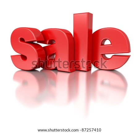 3d red text SALE - stock photo
