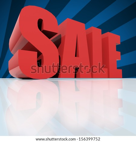 3d red text SALE over blue background